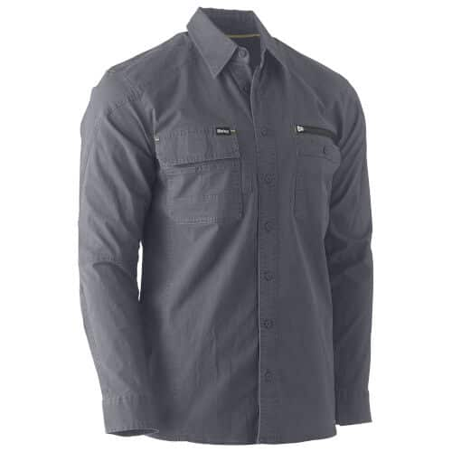 Bisley Flex & Move Work Shirt Long Sleeve 6144 Grey