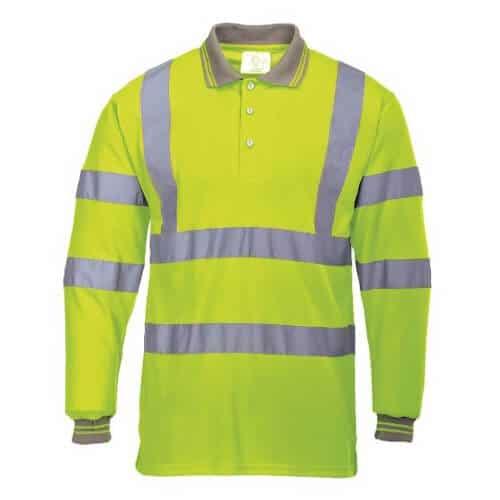 Hi Vis Long Sleeve Polo Shirt