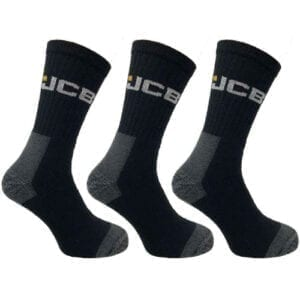 JCB Work Socks 3-Pack Black/Grey (UK Size 6-11) Essential Work Socks
