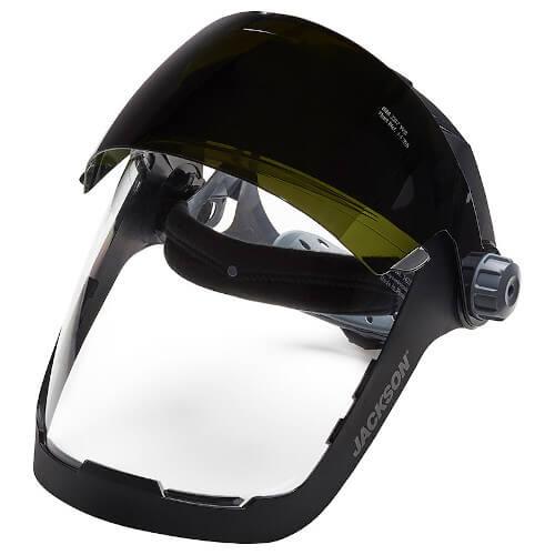 JACKSON QUAD 500™ Shade 5 Flip Face Shield (14230) Shaded Visor Up