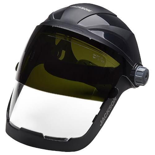JACKSON QUAD 500™ Shade 5 Flip Face Shield (14230) Shaded Visor Down